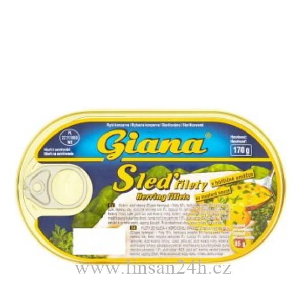 Sleď Filety 170g Hořčicovém Omáčce GIANA