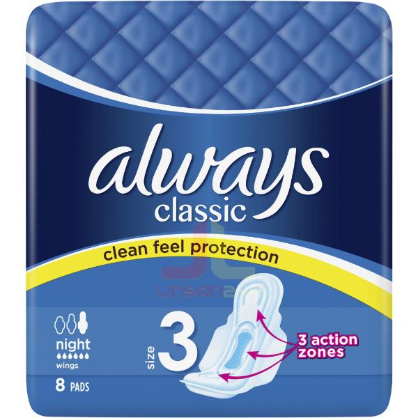 Always Vložky Classic - 8ks NIGHT 6,